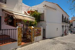 Street of Mijas. Picturesque street of Mijas, charming white village in Andalusia. Costa del Sol,  Spain. Picture taken 20 june 2019 royalty free stock photos