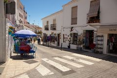 Street of Mijas. Picturesque street of Mijas, charming white village in Andalusia. Costa del Sol,  Spain. Picture taken 20 june 2019 royalty free stock images