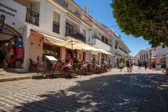 Street of Mijas. Picturesque street of Mijas, charming white village in Andalusia. Costa del Sol,  Spain. Picture taken 20 june 2019 stock image