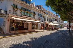 Street of Mijas. Picturesque street of Mijas, charming white village in Andalusia. Costa del Sol,  Spain. Picture taken 20 june 2019 stock photos