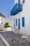 Street in Milos island, Cyclades, Greece Royalty Free Stock Images
