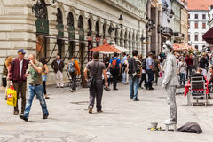 Street mime performer in Bratislava, Slovakia. The city is political, economic and cultural center of Slovakia, seat of president, parliament and goverment Stock Photography