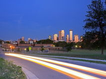 Street in Minneapolis at sunset Royalty Free Stock Image