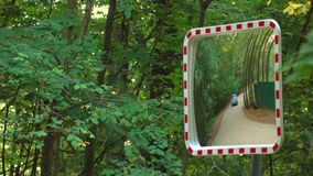 Street mirror near forest road. Safety equipment, 4K video. Street mirror near forest road. 4K shot stock video