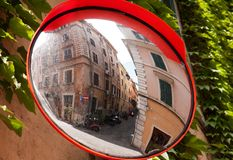 Street in the mirror, Rome. Characteristic street in the mirror, Rome, Italy stock images