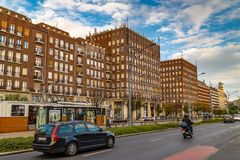 Street modern buildings in the center of Budapest. Hungary stock image