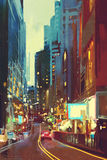 Street in modern city with colorful light at evening. Painting of street in modern city with colorful light at evening royalty free stock image