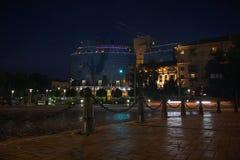 Street is a modern city at night illumination. City stock image
