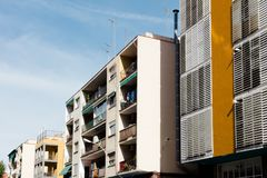 Barcelona, Spain. Street with modern houses in Barcelona. Spain Royalty Free Stock Images