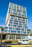 Street with modern office buildings in Casablanca -portrait- Royalty Free Stock Images