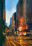 Street in modern urban city at evening. Painting of street in modern urban city at evening Royalty Free Stock Photography