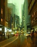 Street in modern urban city. Painting of street in modern urban city at evening Royalty Free Stock Photos