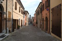 A street in Mondaino, Italy royalty free stock photos