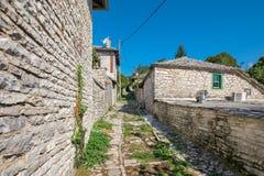Street in Monodendri village. Zagoria, Greece Royalty Free Stock Images