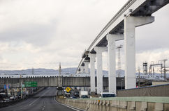 Street monorail and shinkansen in Japan Royalty Free Stock Images