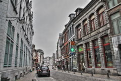 Street of Mons in Belgium Royalty Free Stock Images
