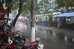 Street during a monsoon rain Stock Image