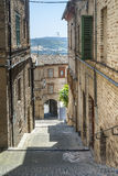 Street of Montecassiano (Macerata). Montecassiano (Macerata, Marches, Italy) - Street of the medieval town Stock Image