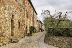 Street in Monteriggioni, Italy Stock Photography
