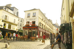 A street in Montmartre of Paris stock image