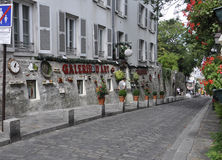 Street in Montmartre in Paris Royalty Free Stock Photography