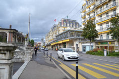 Street in Montreux, Switzerland Royalty Free Stock Images