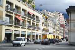 Street in Montreux, Switzerland Stock Photo