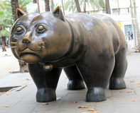 Street monument - cat. Big fat cat monument made from metal located in park stock photo
