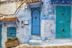 Street in Morocco with ancient stone buildings. Stock Images