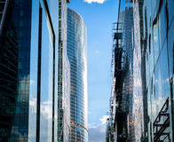 Street is the Moscow city. Architecture reflection Stock Images