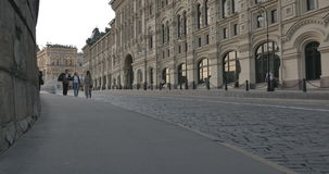Street in Moscow with pedestrians stock footage