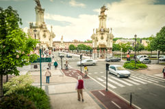Street in motion, San Sebastian, Spain. Royalty Free Stock Photos