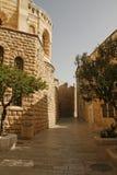 Street on Mount Zion,Jerusalem, Israe. Church Of Dormition On Mount Zion,Jerusalem, Israel Stock Photo