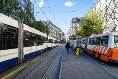 Street movement. In Geneva, Switzerland. Bus and tram are the major public transportation of Geneva Royalty Free Stock Photography