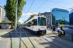 Street movement. In Geneva, Switzerland. Tram is one of the major public transportation of Geneva Royalty Free Stock Image