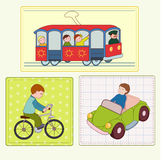 Street movement. With railway and bicycle stock illustration