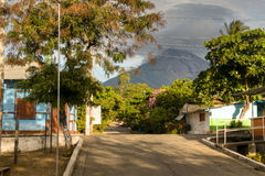 Street in Moyogalpa on Ometepe Island in Nicaragua. A street in Moyogalpa with the Concepcion volcano in the background on Ometepe island in lake Nicaragua in Stock Photos