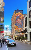 Street mural Berehynia ( Protectress) is created by the artist from Costa Rica MataRuda Stock Images