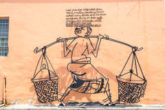 Street Mural tittle painted by Ernest Zacharevic in Penang. PENANG, MALAYSIA-Sep 6 : Street Mural tittle painted by Ernest Zacharevic in Penang on Sep 6, 2015 Royalty Free Stock Image