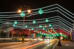 Street in Muscat decorated with lights. Oman, Middle East Stock Photos