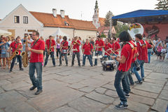Street music entertainers. Fantomatik Orchestra street music entertainers and performers from Italy in Spancirfest town festival of Varazdin, Croatia. This event Royalty Free Stock Photography