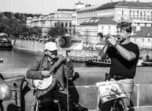 Street music in prague Royalty Free Stock Image