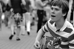 Street musician b/w Royalty Free Stock Photo