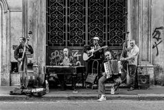 A street musician band , photo taken in May 2017 in Rome , Italy stock photos