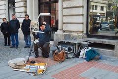 Street musician in Bucharest Stock Photos