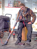 Street musician, busker, with didgeridoo. Band: Windslide. Photo was taken in Exeter, Devon, March 2017 Stock Photos