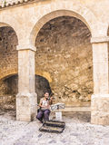 Street musician at the fortress royalty free stock photo