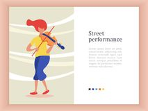 Street musician. The girl plays the violin. Vector illustration. Street musician. A girl with red hair in blue trousers plays the violin. Vector illustration Royalty Free Stock Photography