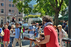 Street musician gives a concert in Brussels Stock Image