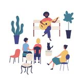 Street musician or guitarist sits on bench and plays guitar at park, people listen to music. Performer and audience or royalty free illustration